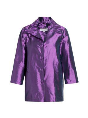 Caroline Rose Women's Silk Shantung Shirt In Amethyst