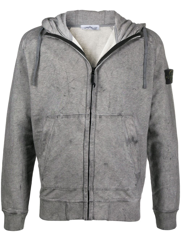 Stone Island Distressed Zipped Hoodie In Grey