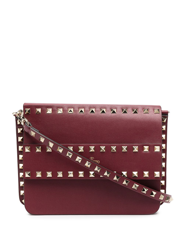 Valentino Garavani Rockstud Leather Cross-body Bag In Red