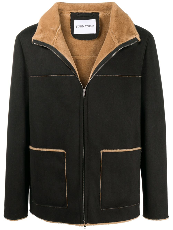 Stand Studio Calvin Faux Shearling Jacket In Black