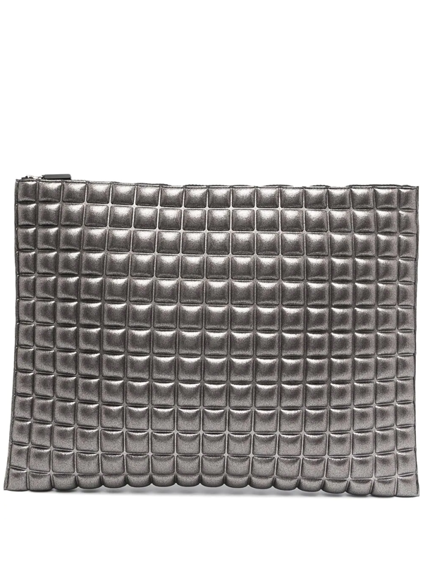 No Ka'oi Textured Clutch Bag In Silver
