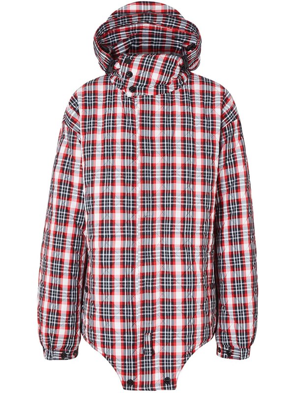 Burberry Cut-out Hem Diamond Quilted Check Nylon Parka In Red