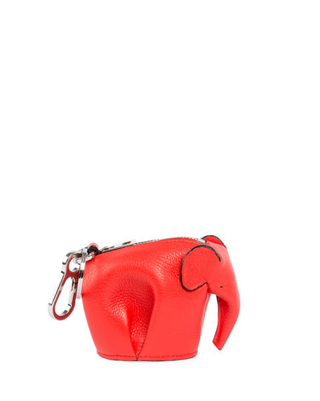 Loewe Elephant Leather Coin Case In Red