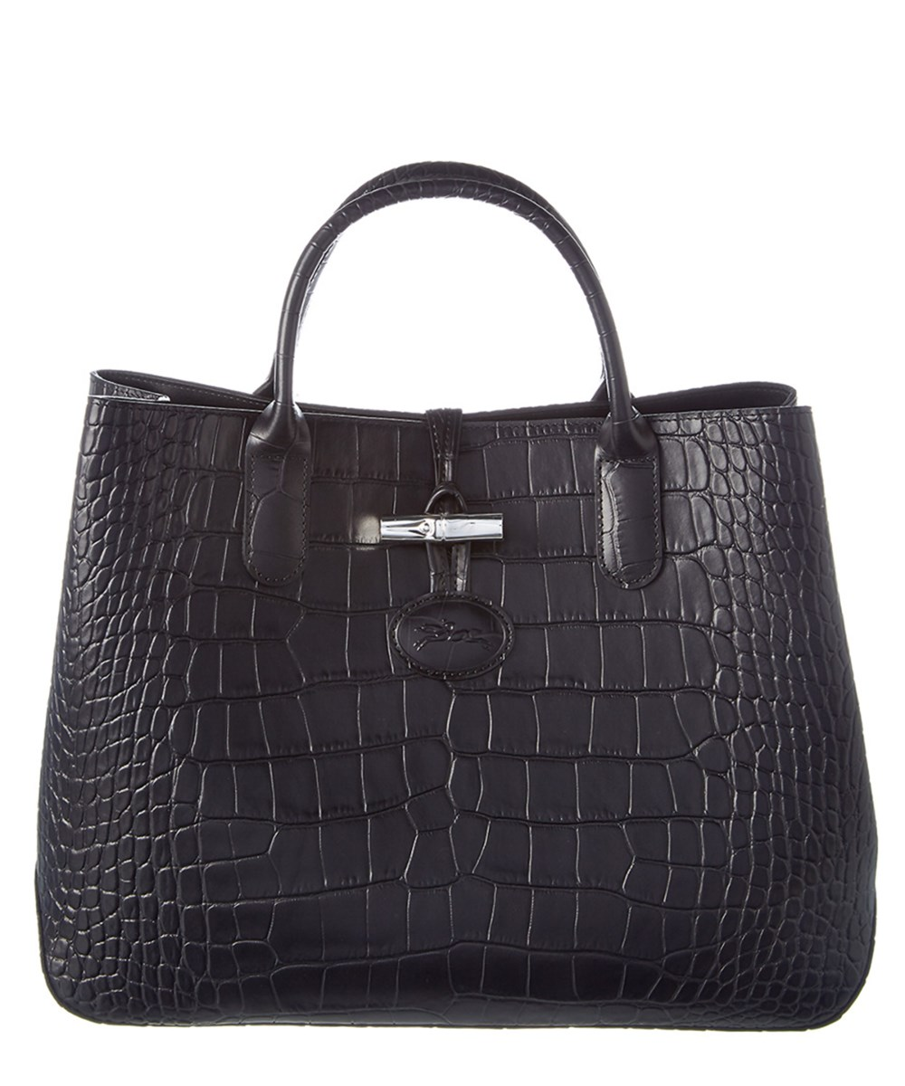 Longchamp Roseau Croco Embossed Small Leather Tote' In Black