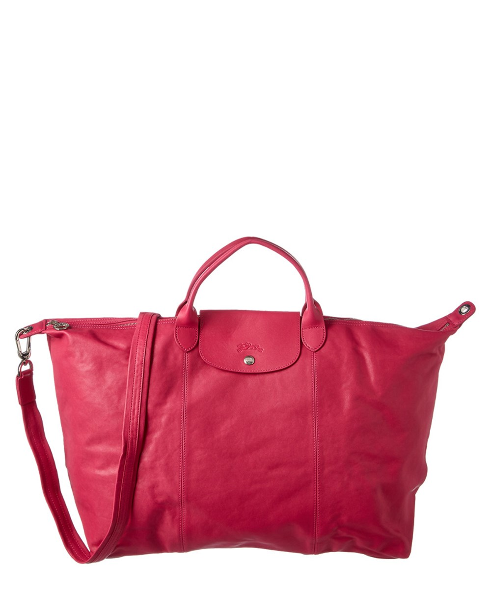 Longchamp Le Pliage Cuir Large Leather Travel Bag' In Pink