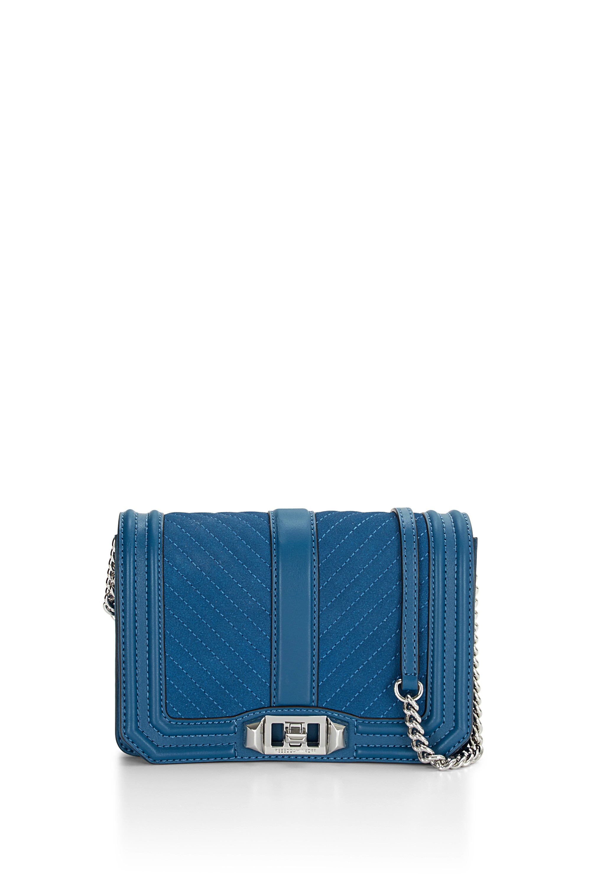 8c8b03e02 Rebecca Minkoff Small Love Chevron Quilted Leather Crossbody Bag In Lake  Blue