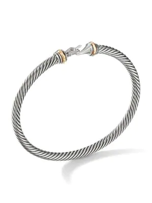 David Yurman Women's Cable Classic Buckle Bracelet With 18k Yellow Gold In Silver Gold