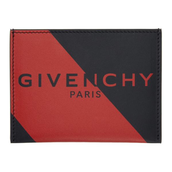 Givenchy Logo Print Cardholder In 009-black/r