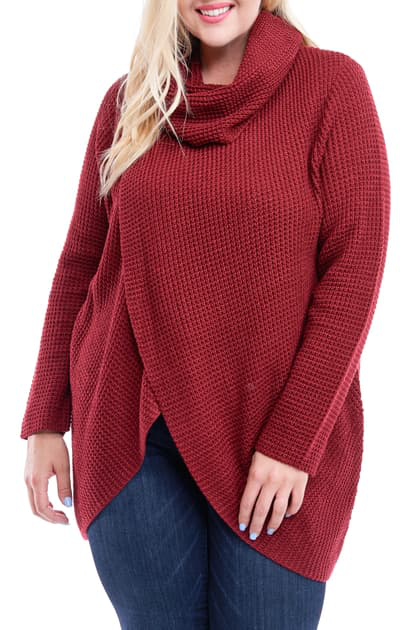 Single Thread Size Cross Front Cowl Neck Sweater In Wine