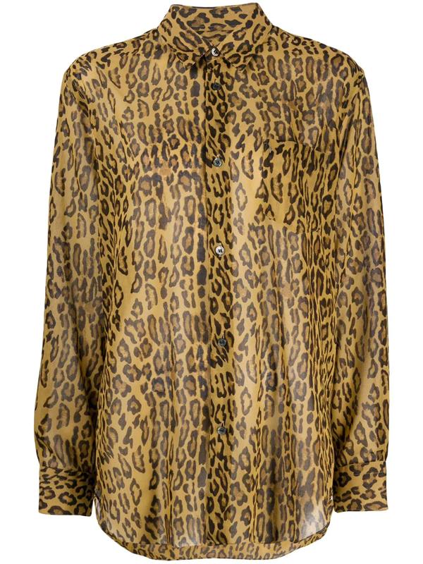 Junya Watanabe Animal Print Voile Shirt In Brown