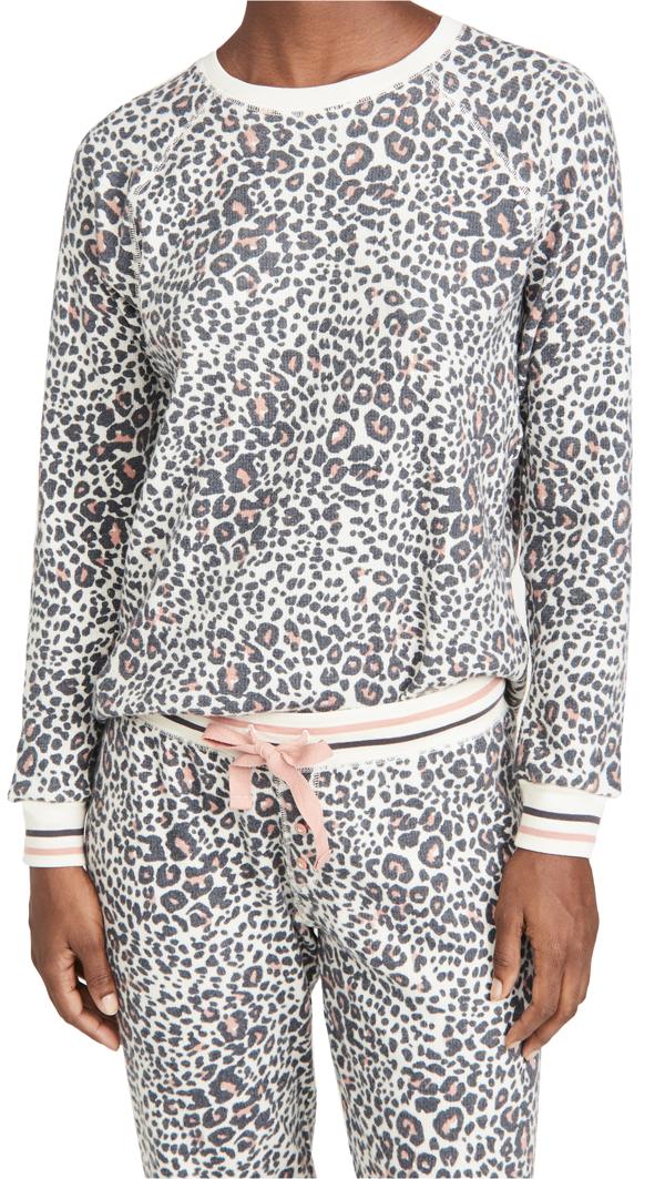 Pj Salvage Animal Print Thermal Pajama Top In Stone
