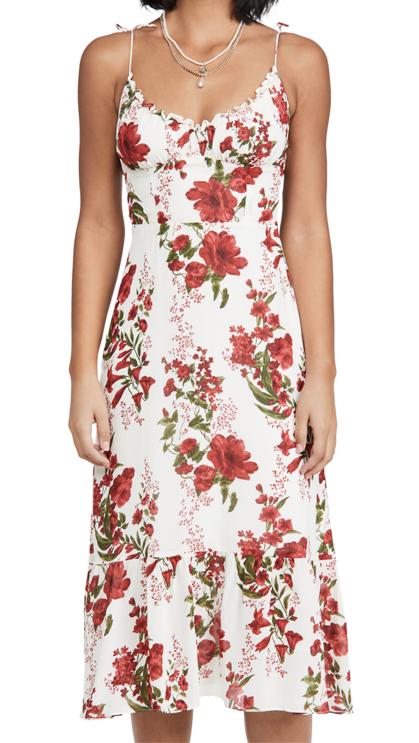 Reformation Embry Floral Midi Dress In Georgette