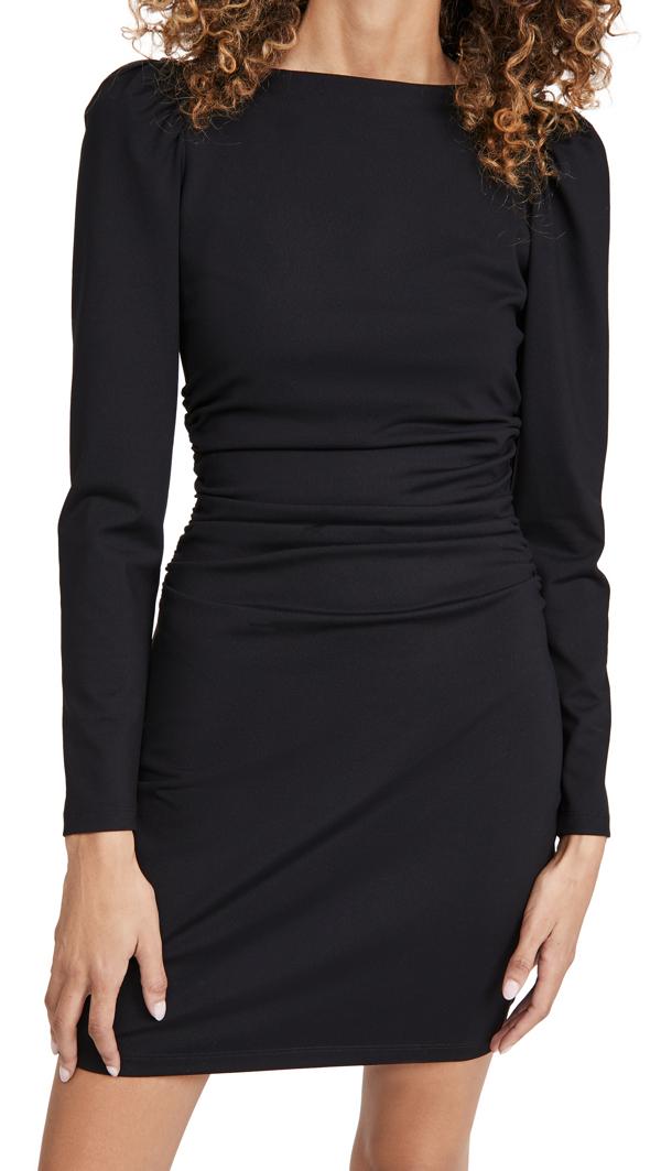 Susana Monaco Long Sleeve Puff Sleeve Ruched Dress In Black