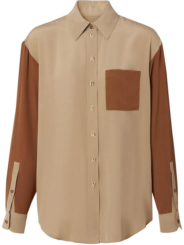 Burberry Juliette Logo Button Colorblock Silk Shirt In Braun