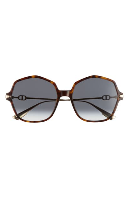 Dior Link2 59mm Gradient Geometric Sunglasses In Dark Havana/ Dark Grey Gradien