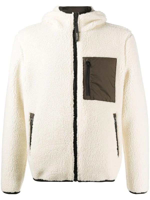 Woolrich Faux-fur Zipped Jacket In White