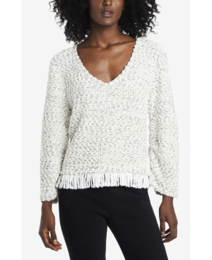 Vince Camuto Women's Ruched Sleeve Boucle Fringe Pullover In Ivory
