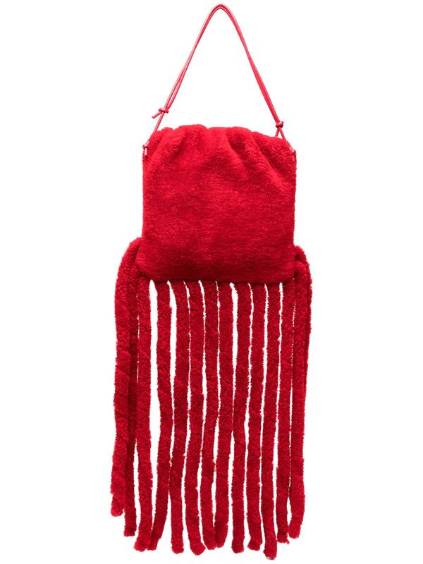 Bottega Veneta The Shearling Fringe Pouch Bag In Red