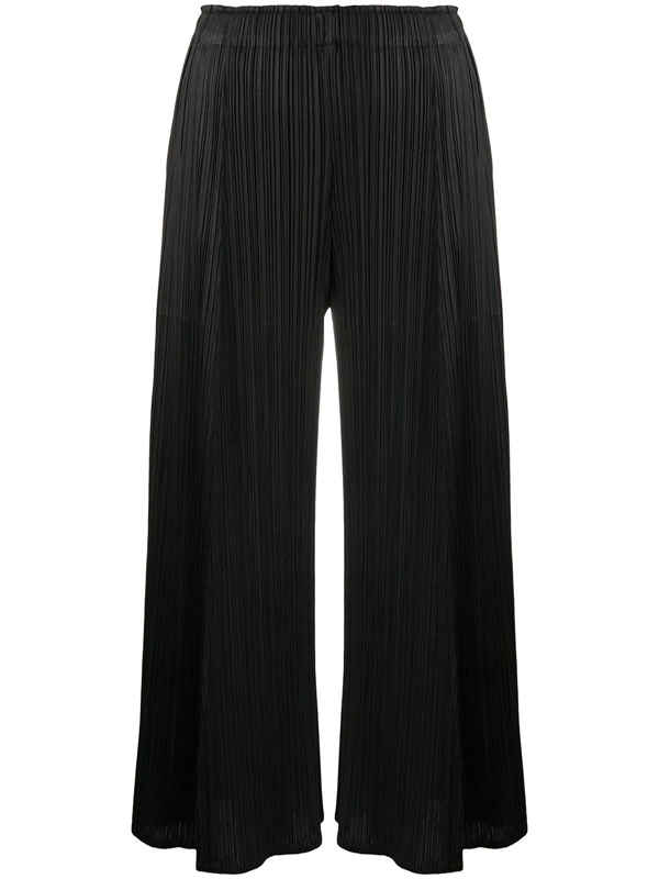 Pleats Please Issey Miyake Flared Pleated Crop Trousers In Black