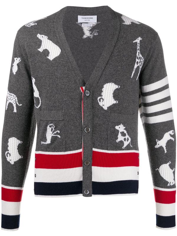 Thom Browne Animal-print 4-bar Stripe Cardigan In Grey