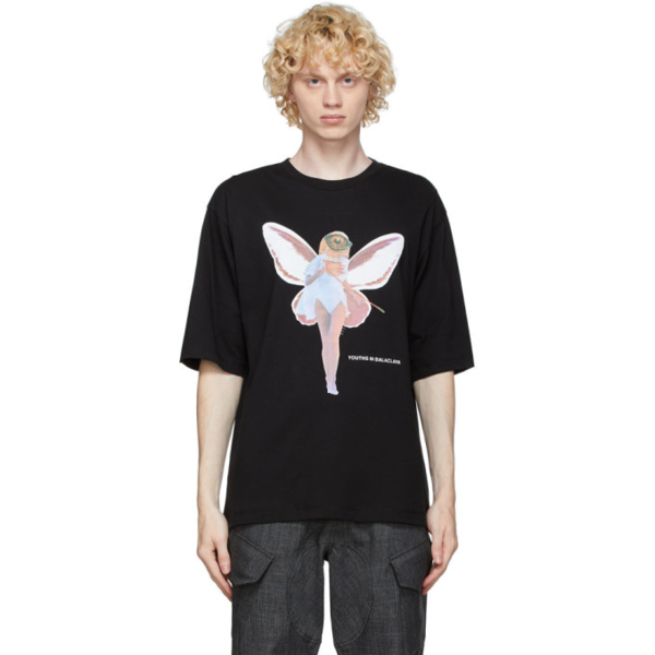 Youths In Balaclava Fairy-print Cotton T-shirt In Black