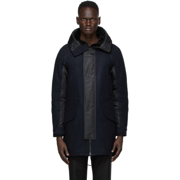 Yves Salomon - Army Navy And Black Wool Parka In B2335 Navy