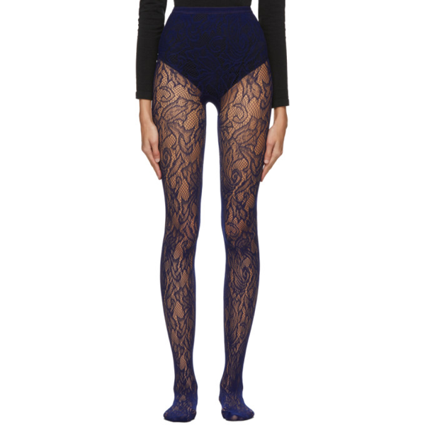 Dries Van Noten Floral Stretch-lace Tights In 511 Midnigh