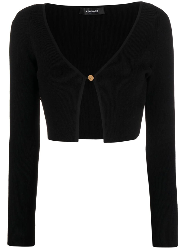 Versace Women's Cropped Ribbed-knit Cardigan In Black