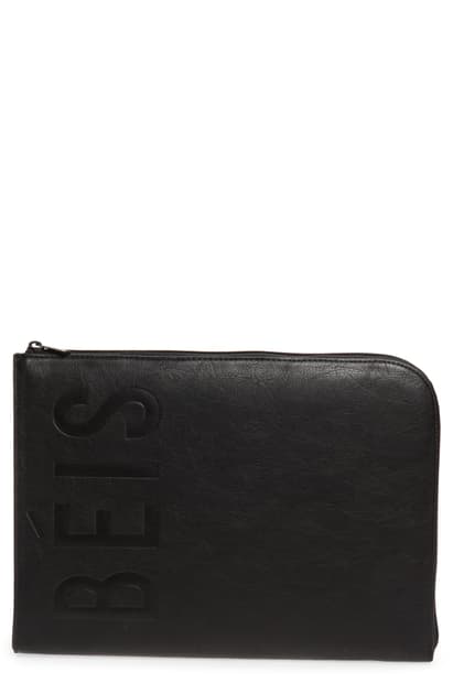 Beis The Faux Leather Laptop Sleeve In Black