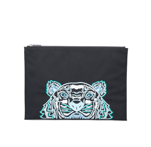 Kenzo Kampus Tiger Embroidered Pouch Bag In Black