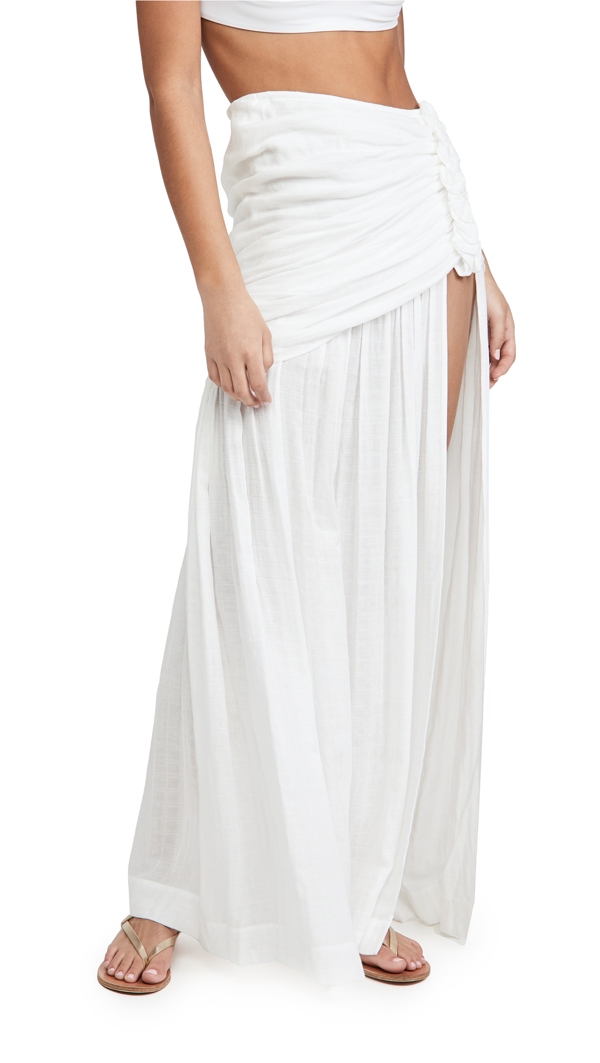 Just Bee Queen Bianca High Slit Maxi Skirt In White