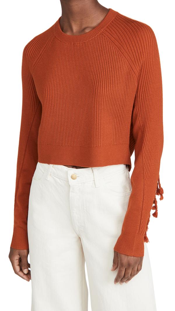 Jonathan Simkhai Hannah Draped Fringe Cropped Sweater In Caramel