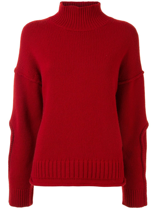 Proenza Schouler White Label Wool Cashmere Cropped Knit Sweater In Red