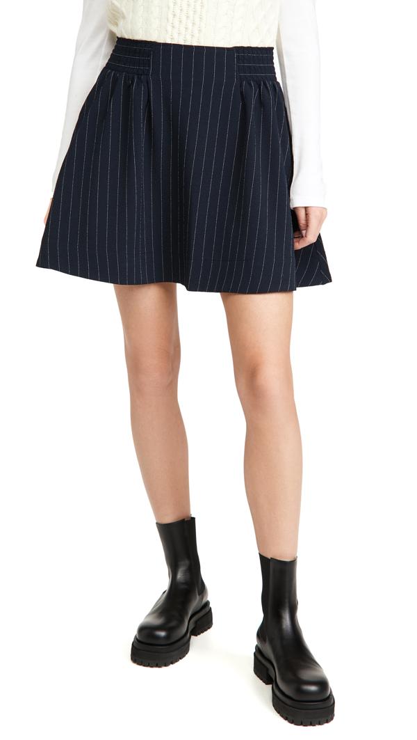 Ganni Heavy Crepe Elastic Waist Mini Skirt In Sky Captain