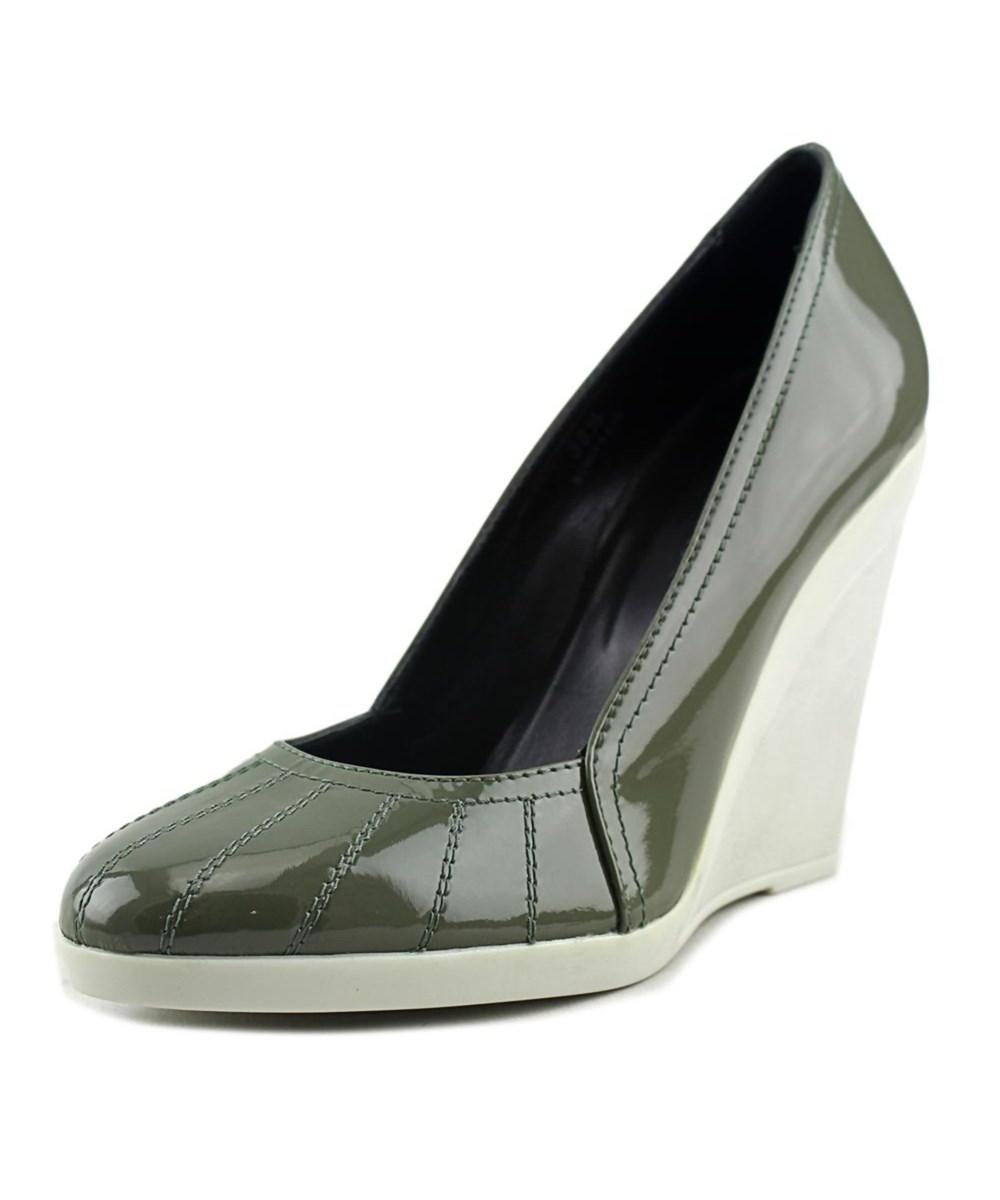 Hogan 138 Wedge Decollete Women Open Toe Patent Leather Green ...
