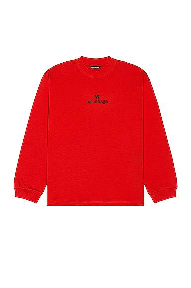 Balenciaga Long Sleeve Tee In Red