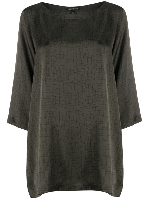 Eileen Fisher Printed Tunic Top In Green