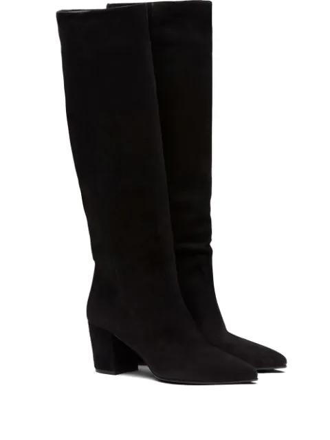 Prada Calf-length Slip-on Boots In Black
