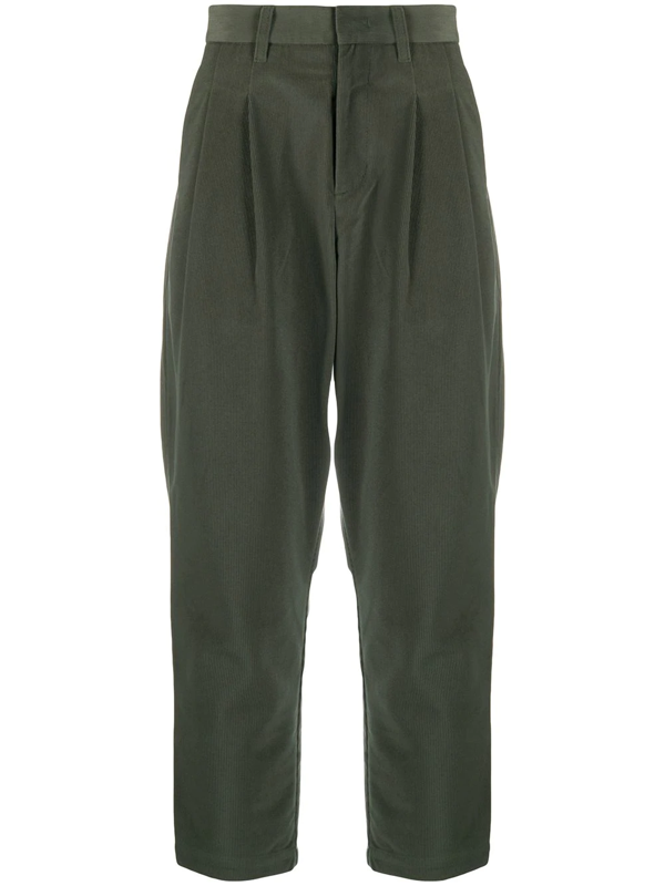 Attachment Drop-crotch Tapered Trousers In Green