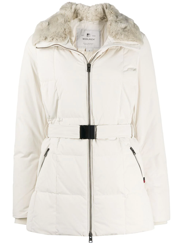 Woolrich Blizzard Faux Fur Collar Belted Coat In White