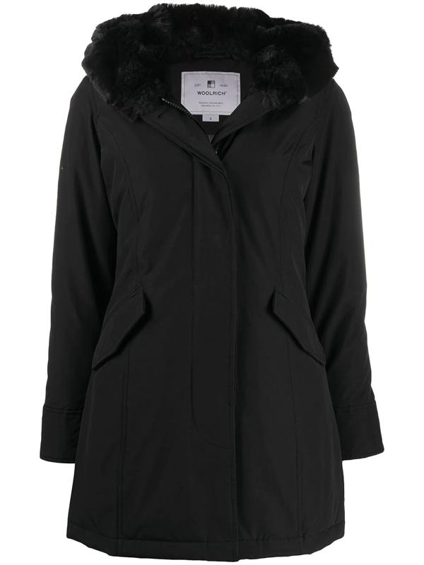 Woolrich Beaker Faux Fur Trim Hooded Parka In Black