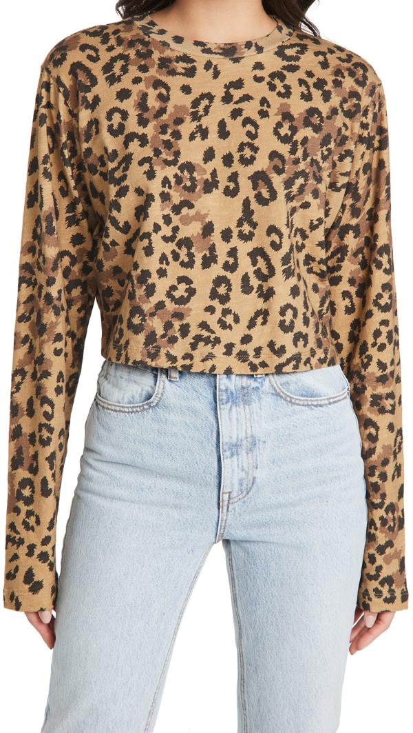 Pam & Gela Jaguar Print Cropped Top In Tan