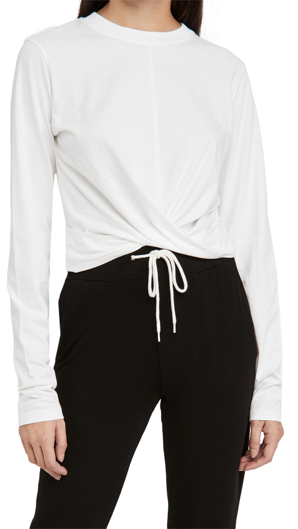 Pam & Gela Twist Front Tee In White