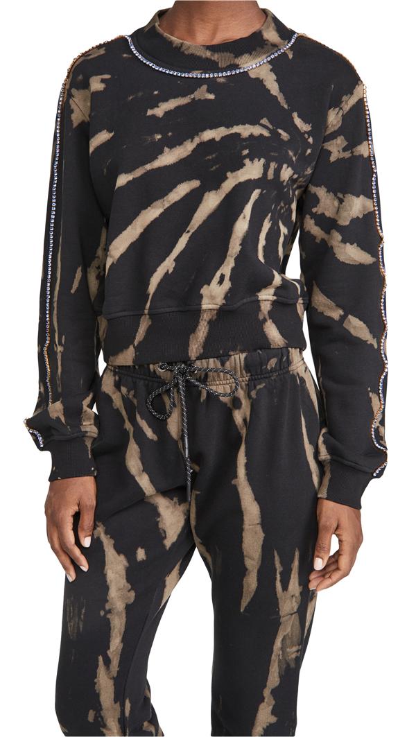 Pam & Gela Tie Dyed Cropped Sweatshirt In Black/grey