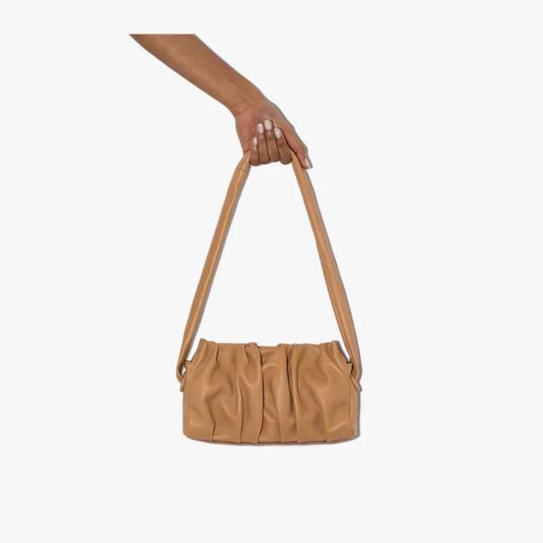 Elleme Long Vague Ruched Leather Shoulder Bag In Brown