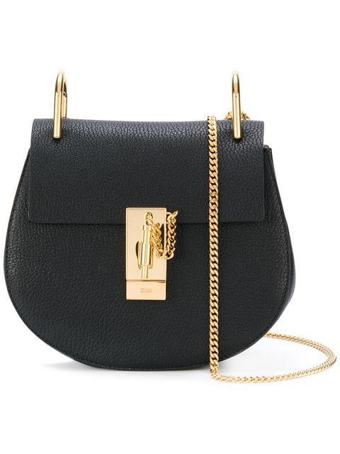 ChloÉ Drew Mini Textured-Leather Shoulder Bag In Black