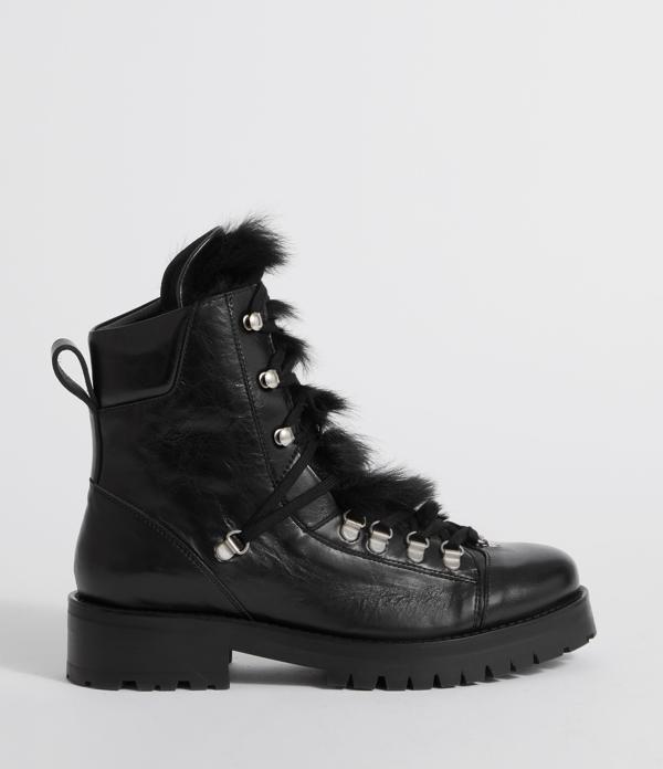 Allsaints Franka Shearling Boot In Black