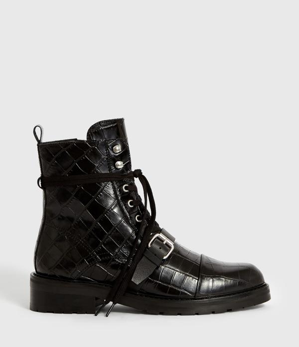 Allsaints Womens Donita Leather Crocodile Boots In Black