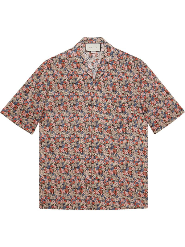 Gucci X Liberty London Floral Cotton Muslin Bowling Shirt In Pink