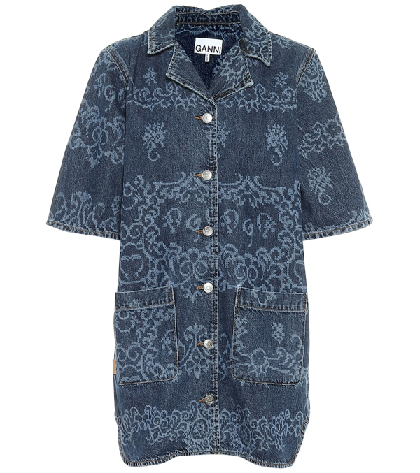 Ganni Laser Print Oversized Denim Shirt In Blue
